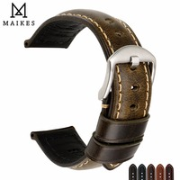 MAIKES Genuine Cow Leather Watchband 20mm 22mm 24mm 26mm Watch Strap Green Watch Accessories Watch Band For Panerai Fossil Etc