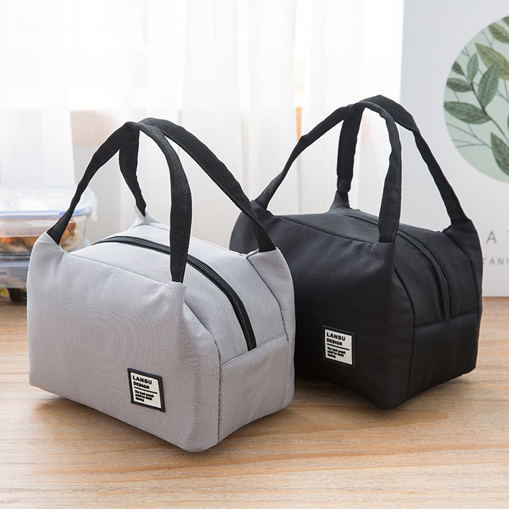 For Women Kids Men Insulated Canvas Box Tote Bag Thermal Cooler Food Lunch Bags Waterproof Handle Carrying Lunch Cases