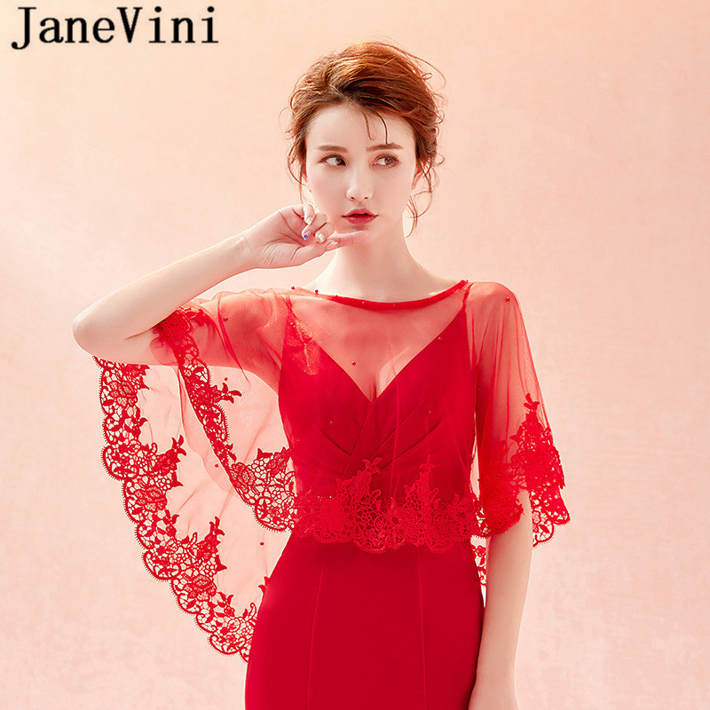 Купить с кэшбэком JaneVini Summer Red Lace Bridal Wraps Shawl Elegant Bolero Women Coprispalle Tulle Wedding Shawl Boleros Beaded Party Jackets