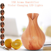 THANKSHARE 130mm USB Ultrasonic Air Humidifier Aroma Essential Oil Diffuser With Wood Grain 7Color Changing LED