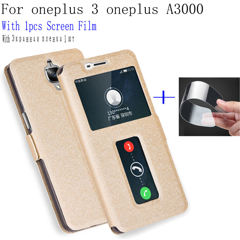 Smart View Window fundas For oneplus3 Case A3000 Cover flip PU Leather Shell For oneplus 3 phone cases one plus 3 back cover