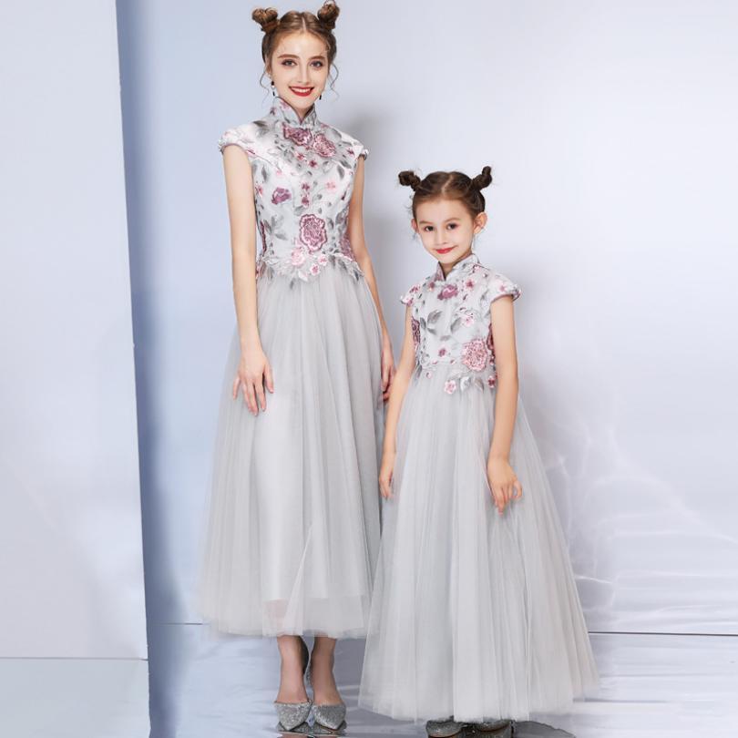 Bébé mère fille robe robe de bal gris princesse élégante femmes filles robe de Cocktail robe de soirée de mariage correspondant vêtements Y933 - 3