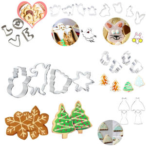 29 styles cartoon animal stainless steel cookie cutter 0.3mm thickness fruit cutting die cupcake stamp mold kitchen baking tools