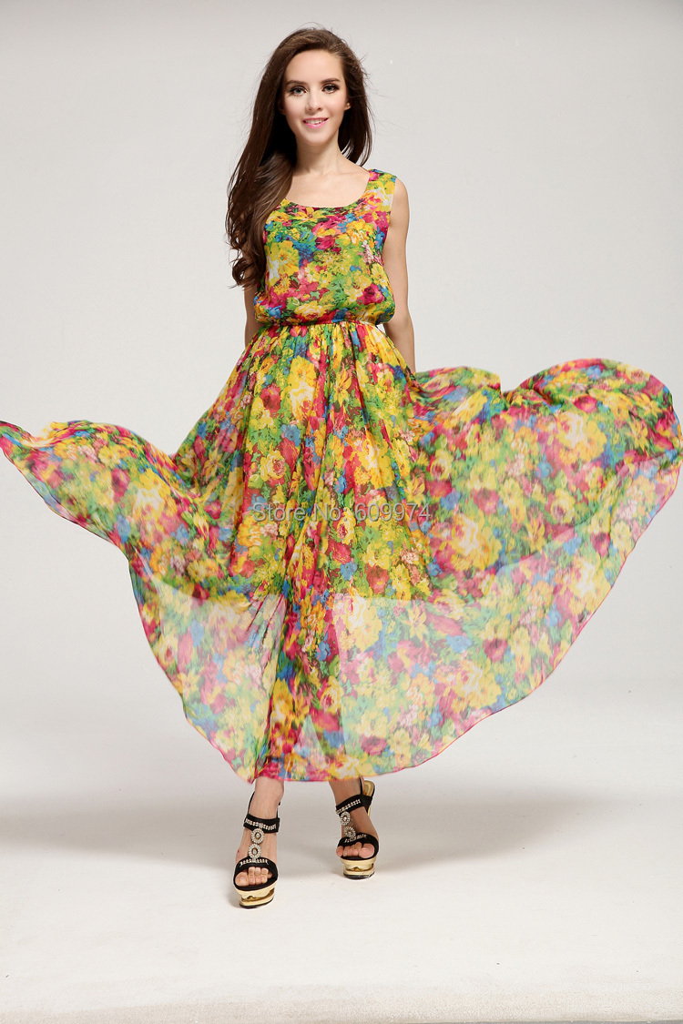 c30f6a9bf4d0 Women Long Dress 2015 New Arrival Sleeveless Cute Print Chiffon Casual  Party Dress Tops High Quality W4088-in Dresses from Women's Clothing on ...