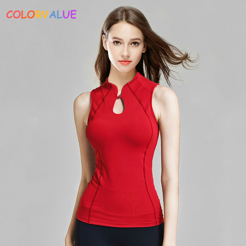 Colorvalue Retro Chinese Style Fitness Dance Vest Women Chic Mandarin Collar Yoga Vest Slim Fit Sport Tank Tops with Chest Pads chic scoop collar printed women s tank top