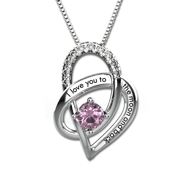 Love Heart Pendant With Birthstone Sterling Silver I Love You to the Moon and Back Necklace yoursfs love you forever white gold plated heart in circle pendant necklace with austrian crystal open heart silver necklace wo