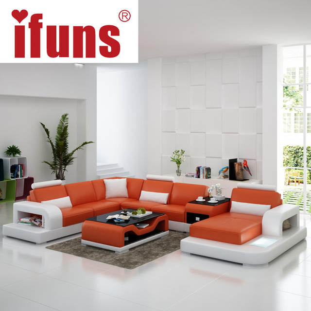 white furniture set living room swivel rocker recliners online shop ifuns modern design u shaped quality leather sectional sofa led light