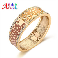 Enamel Bangles Dubai 18k Gold Plated Wholesale Jewelry Rhinestone Vintage Wedding Wide Bracelets Bangle For Women