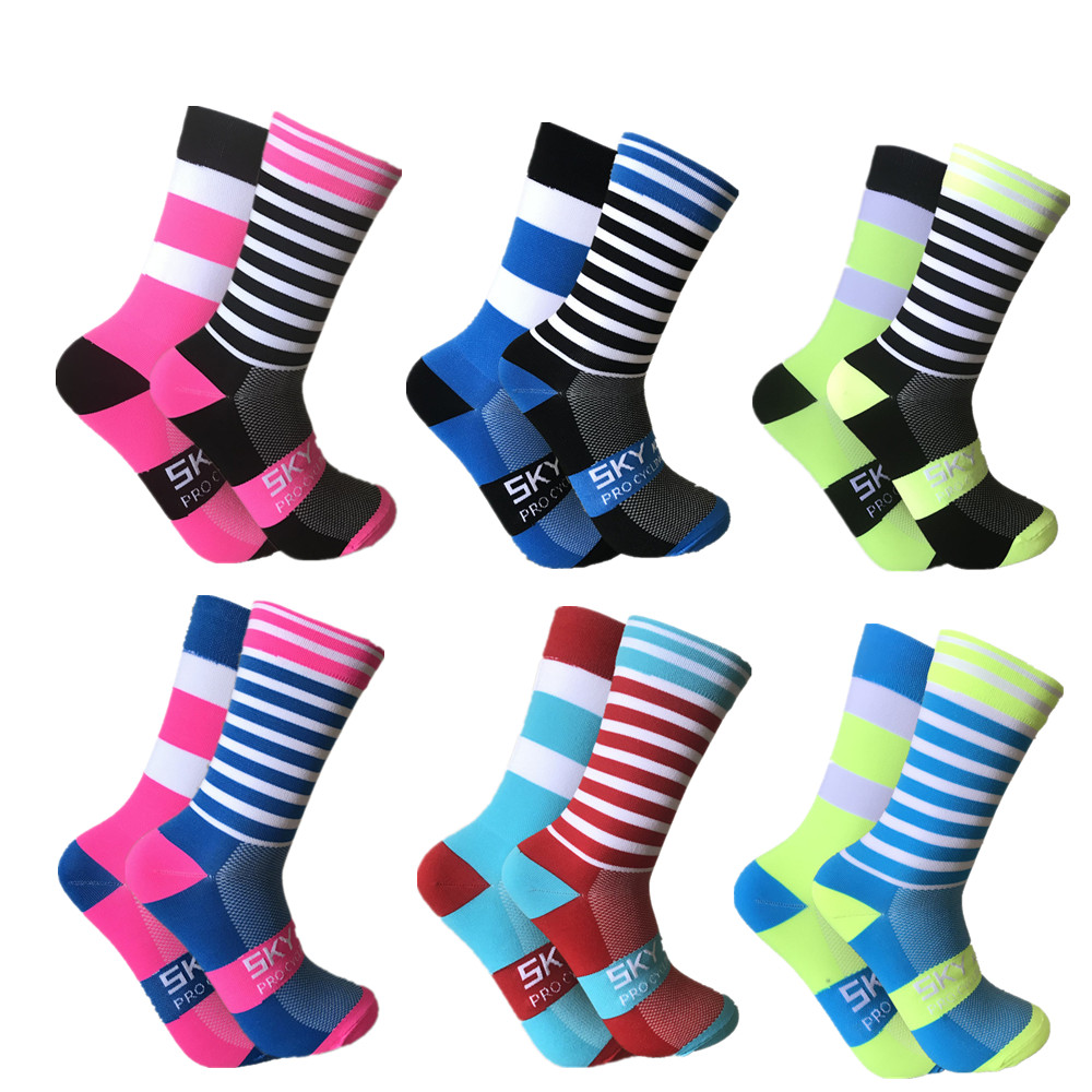 SKYKNIGHT Professional Cycling Socks Men Women Left and right foot stripe Road Bicycle Socks  Racing Bike Compression Sport Sock