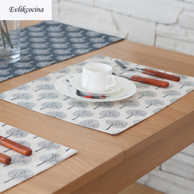 Free Shipping Trees White Placemat Kitchen Accessories Cotton Linen Cloth Mats Pads Dining Table Placemats Mantel Inidual & Free Shipping Trees White Placemat Kitchen Accessories Cotton Linen ...