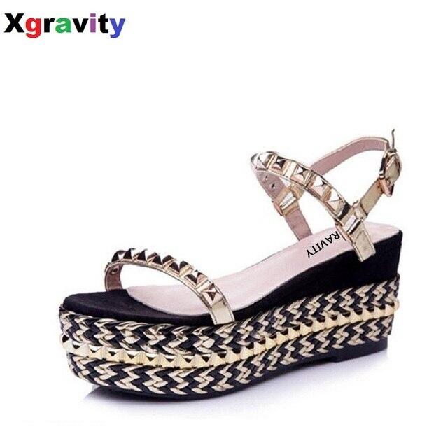 03bed3d0769 Buckle Strap Shoe Lady Fashion High Heel 7.3 cm Platform Shoes Wedge Sandals  Elegant Pearl Rivets