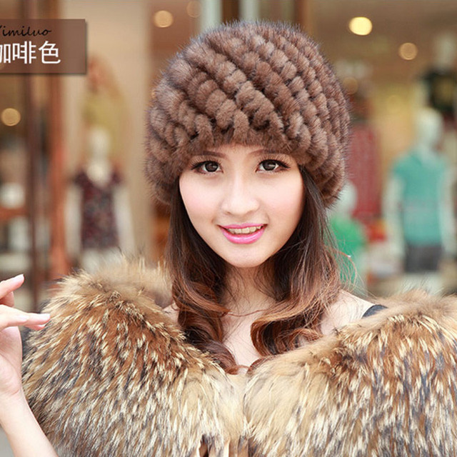 Women Mink Knitted Fur Hat Newest Women's Fashion Real Knitted Mink Fur Hats Lady Winter Warm Charm Beanies Caps Female  H#50