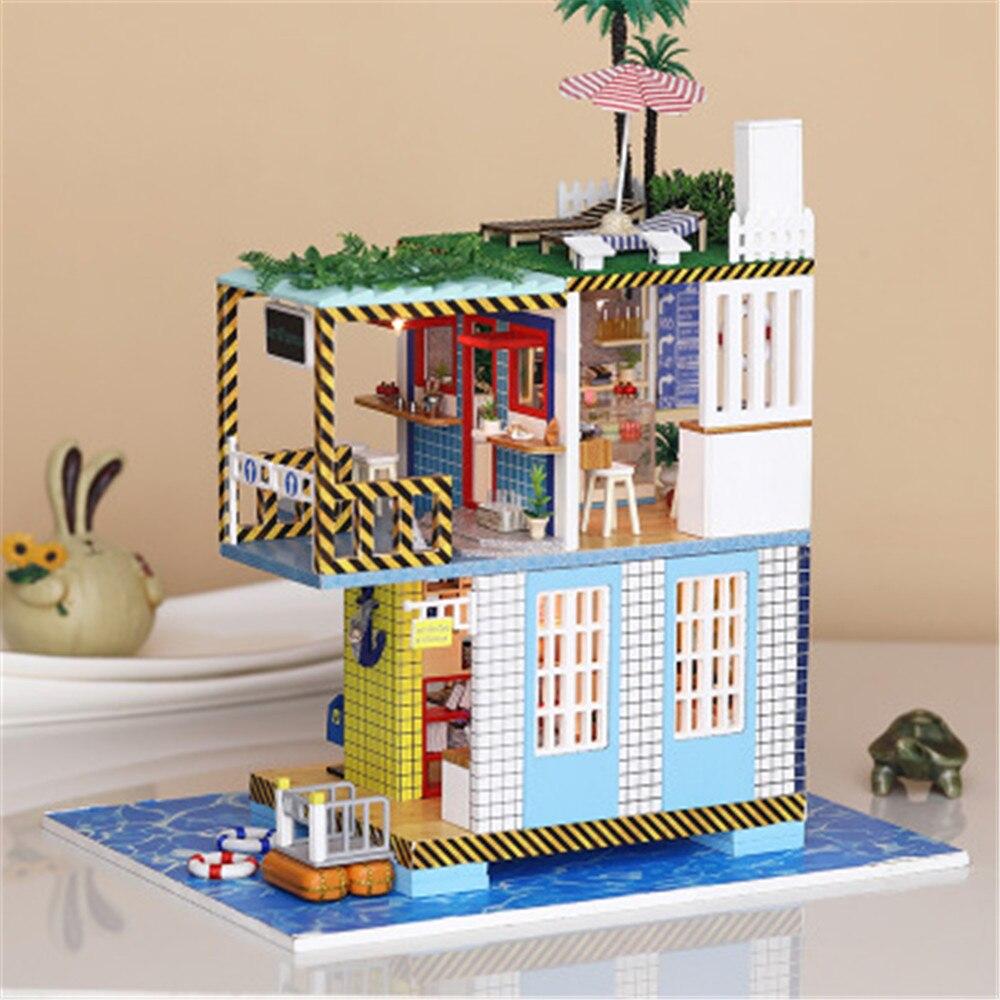 Nouveau bricolage en bois maison Cottage fait à la main loisirs vacances Cottage modèle assemblé Villa jouet créatif pour petit ami bébé cadeau d'anniversaire