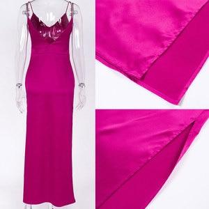 Image 5 - Forefair Sexy Maxi Satin Dress Summer Women Slit V Neck High Waist Off Shoulder Black Red Silk Slip Dress Party Club