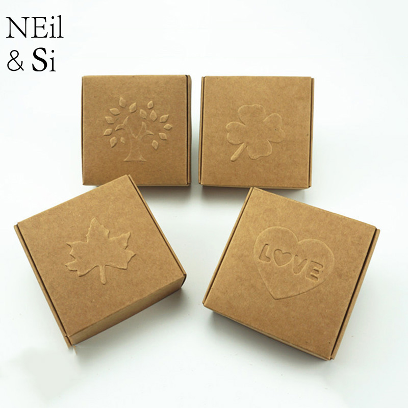 Kraft Paper Box Handmade Soap Pack Wedding Favor Gift Candy Jewel Package Brown Boxes Emboss Tree Love Maple Free Shipping