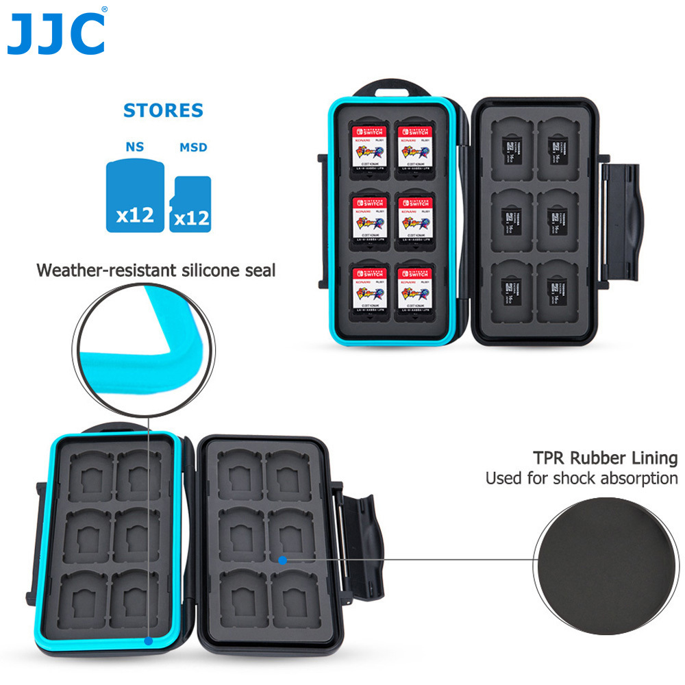 JJC Water-Resistant Memory Card Case Storage for 12 Nintendo Switch Game Card + 12 Micro SD Card Box