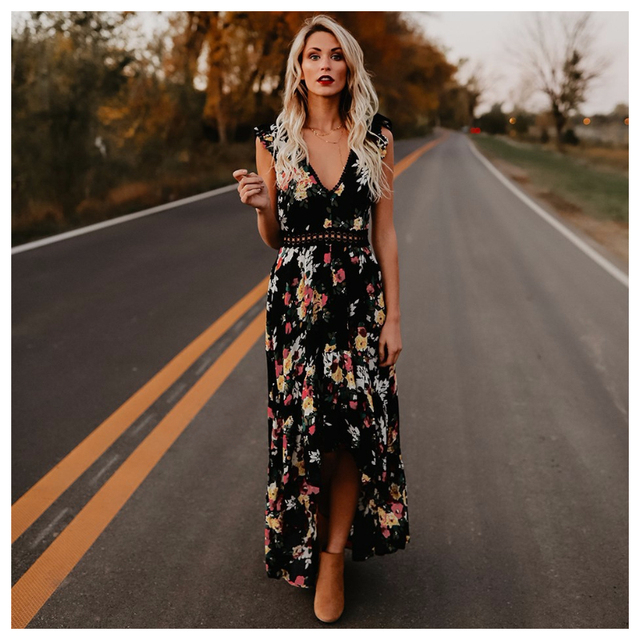 617f411b5 Womens Sleeveless Long Party Dress Floral Print Embroidered High Low ...