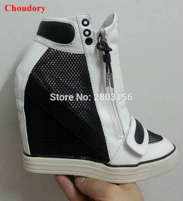 Real Pictures!Fashion Women Height Increasing Casual Shoes High Heel Women Wedge Shoes Double Zipper Platform Shoes isabel fashion platform wedge casual shoes women height increasing shoes 2016 soft leather high top casual shoes boots