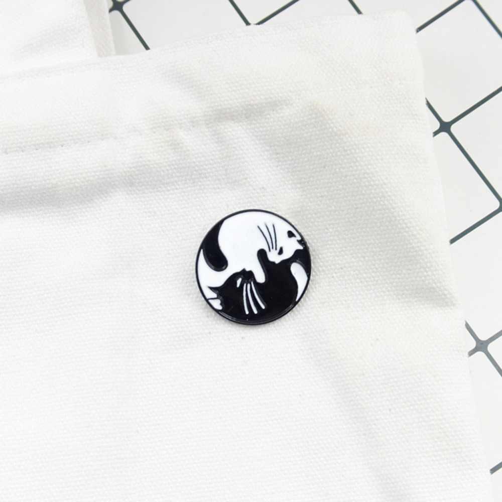 Брошка Мультфильм Креативный черный и белый котенок иконы рюкзак модные подарки одежда украшения Одежда круглые штырьки нашивка для куртки джинсы