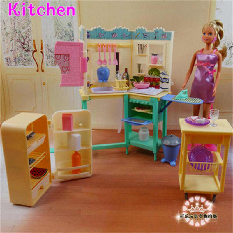 For Barbie Doll Furniture Accessories Plastic Toy Kitchen Set Refrigerator Table Plate Kitchenware Iron Gift Girl DIY  Wholesale