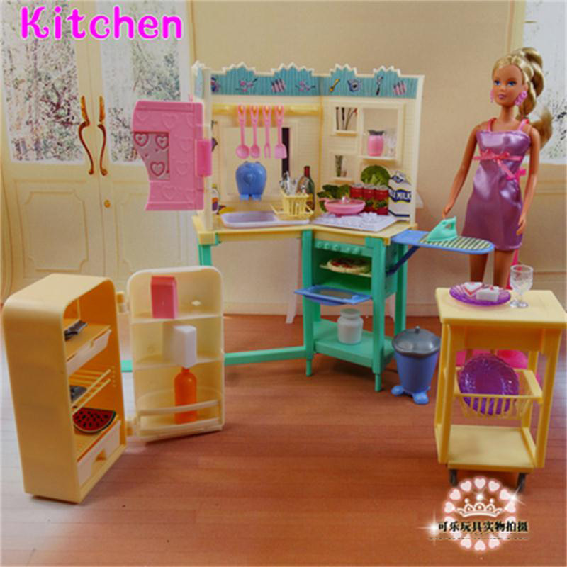 For Barbie Doll Furniture Accessories Plastic Toy Kitchen Set Refrigerator Table Plate Kitchenware Iron Gift Girl Diy Wholesale Aliexpress