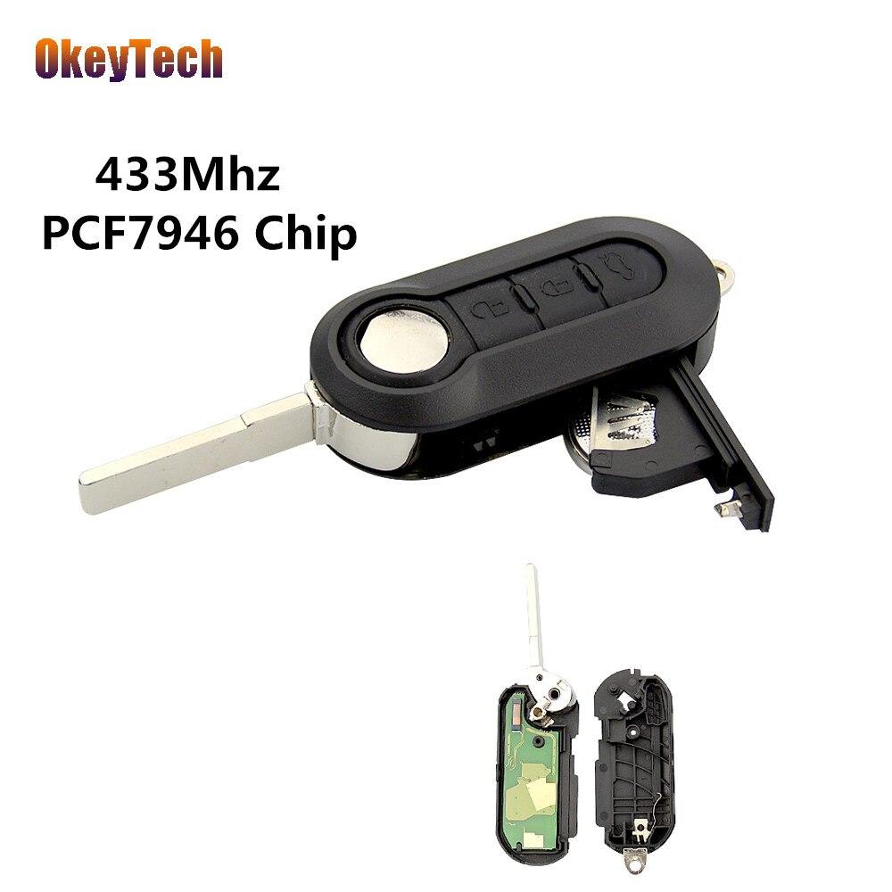 OkeyTech 3 Bouton Bascule Pliant Télécommande Auto Clé De Voiture Uncut Lame 433 mhz PCF7946 Puce pour Fiat 500 Panda punto Bravo Grande