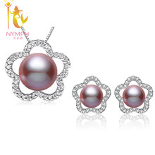 [NYMPH]Natural Pearl Jewelry Sets 925-Sterling-Silver Jewelry Real Freshwater Pearl Necklace Pendant Earrings For WomenSET16