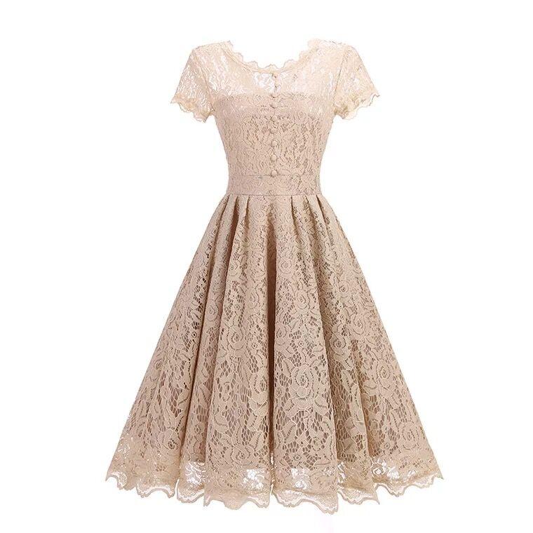 Vintage Khaki/Navy Blue Short Lace   Evening     Dresses   2019 with Buttons   Evening   Party Gowns Cheap Robe de Soiree Courte