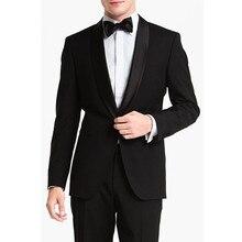 modern mens wear black custom made suit groom tuxedo shawl collar men suit 2017 wedding dress