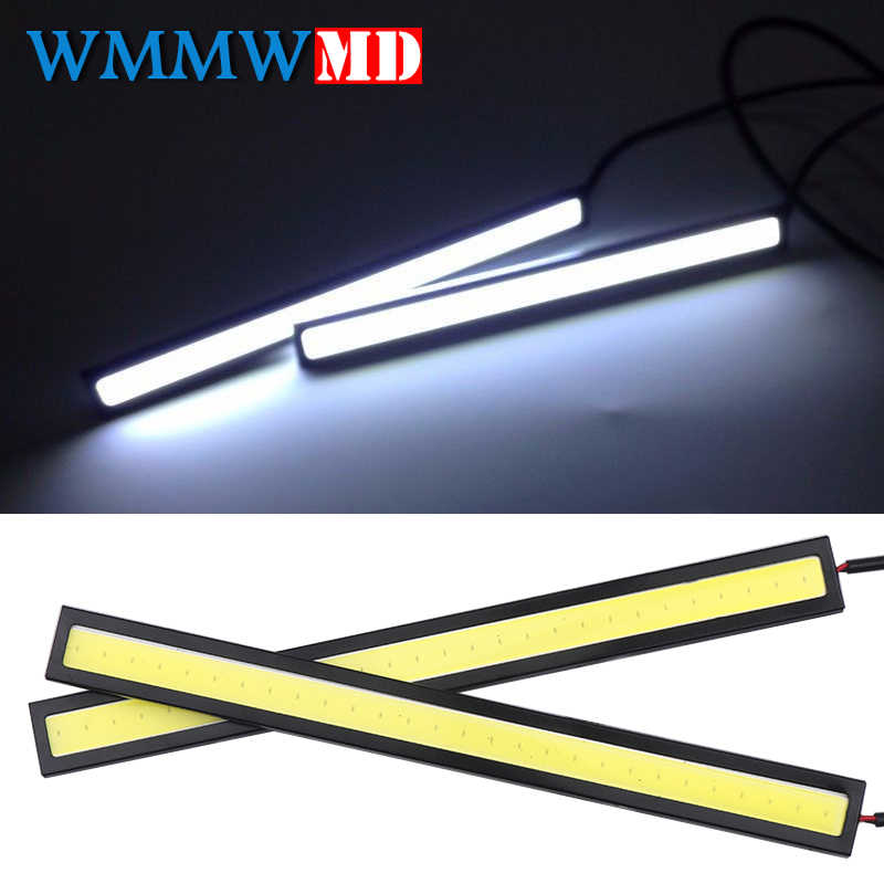 1 adet 17cm COB LED DRL sürüş gündüz koşu ışıklar şerit 12V COB LED DRL Bar alüminyum çizgili Panel araba çalışma ışıkları