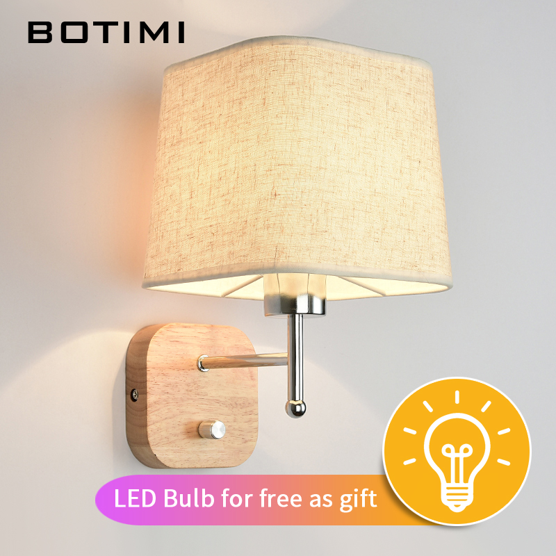 BOTIMI New LED Wall Lamp Untuk Ruang Tamu Hotel Bedside Wall Sconce With Fabric Lampshade E27 Luminaire Bed Reading Home Lighting