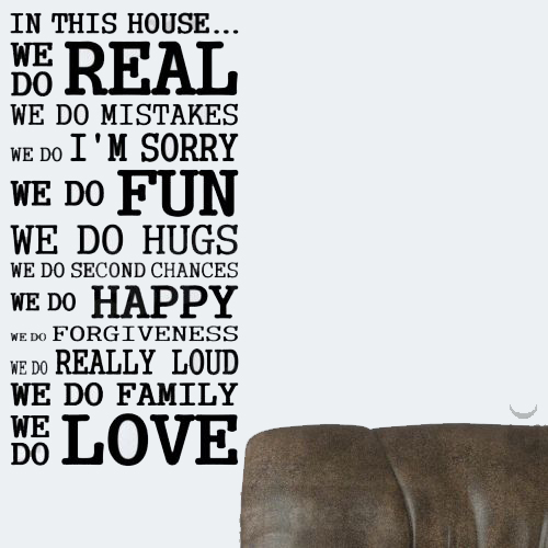 IN THIS HOUSE FAMILY WE DO LOVE FUN REAL Bedroom Design Lettering Quote Vinyl Wall Decal
