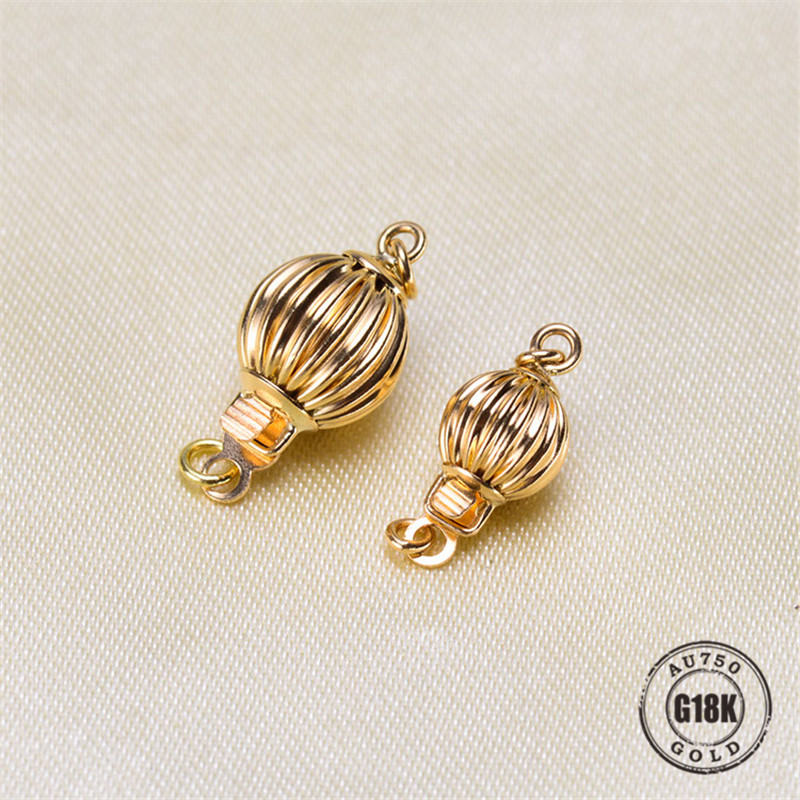 Véritable collier de perles de bracelets à faire soi-même en or 18 K faisant des résultats fournitures forme de lanterne fermoirs et crochets connecteur fermoirs accessoires - 2