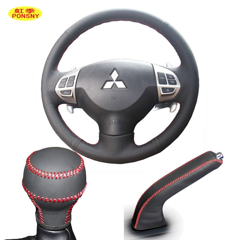 PONSNY Car Gear/Handbrake/Steering Wheel Genuine Leather Covers Case for Mitsubishi Lancer-EX Outlander Asx Lancer 2006-2012