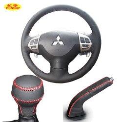 PONSNY Car Gear/hamulec ręczny/kierownica etui z prawdziwej skóry Case dla Mitsubishi Lancer-EX Outlander Asx Lancer 2006-2012