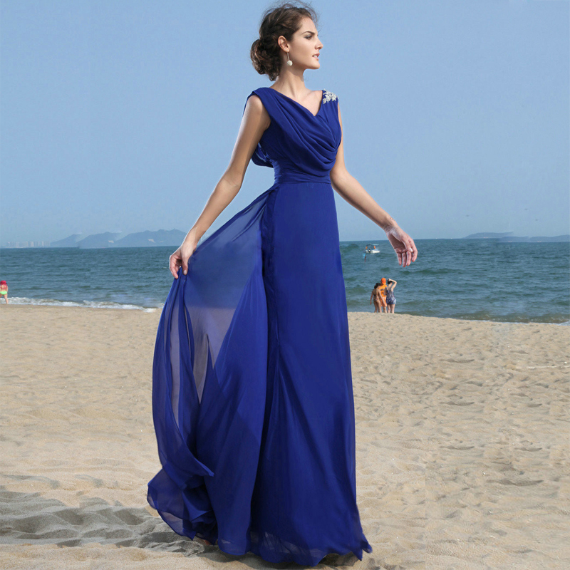 c117a87625 B035 Simple Beach V Neck Royal Blue A Line Long Chiffon Bridesmaid Dress  Formal Women Party Gown-in Bridesmaid Dresses from Weddings & Events on ...