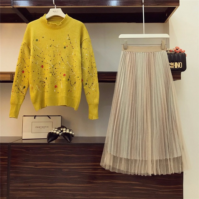 Hole Design Collar Knitted Tops Sweater+ Mesh Skirt
