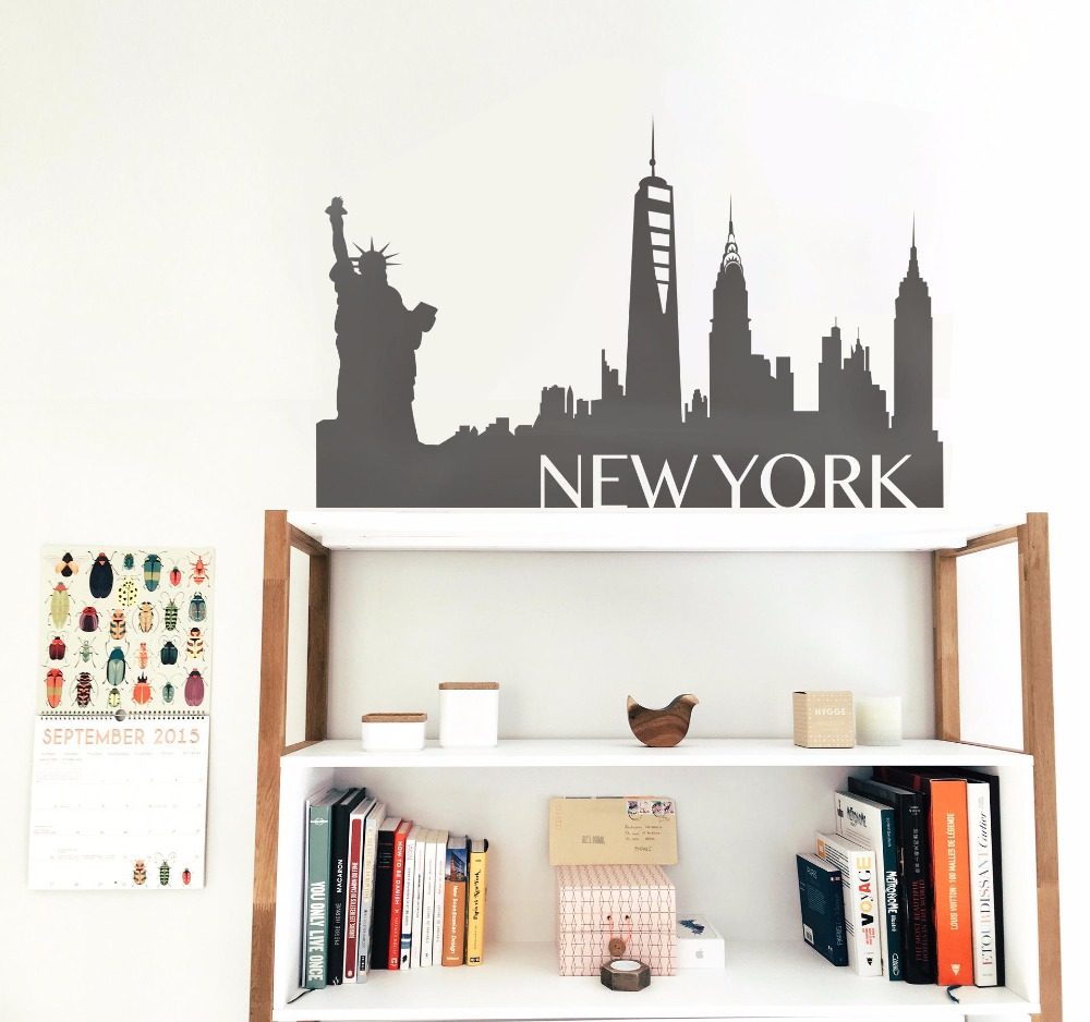 New York city Wall Sticker Wall stickers Skyline Silhouette decal kids room America car Stickers study stickers cover T181022 image