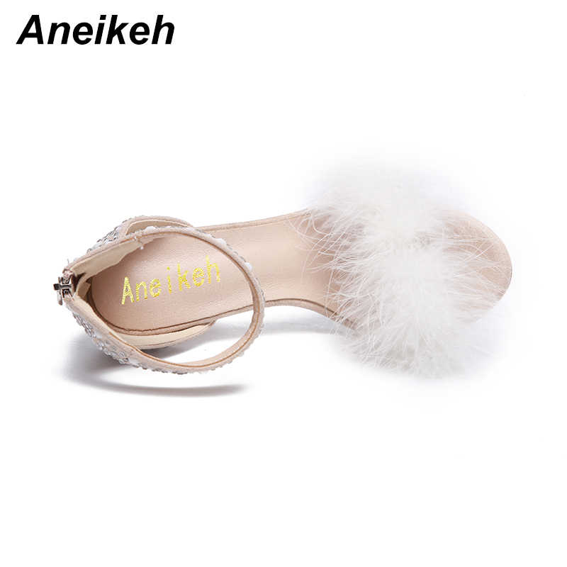 Aneikeh Veer Kristal Hoge Hak Sandalen Fancy Glittering Crystal Enkelband Stiletto Hak Kleding Sandalen Bruiloft Schoenen Abrikoos