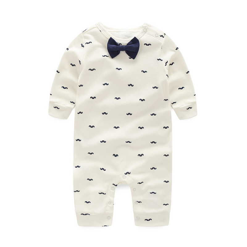 Baby Rompers Spring Autumn Active Full Sleeve Baby Boy Girl Clothes Print Beard Cotton Children Clothing Newborn Birthday Dress strip baby rompers long sleeve baby boy clothing jumpsuits children autumn clothing set newborn baby clothes cotton baby rompers