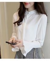 2018 Autumn Elegant Ladies Office Ruffles Blouse Pleated Long Flare Sleeve Chiffon Shirt Female Tops Mujer Blusa Feminino S6255