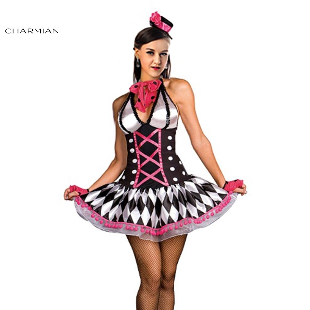 charmian sexy halloween costume for women harley quinn clown costume carnival oktoberfest cosplay halter mini dress - Girl Clown Halloween Costumes