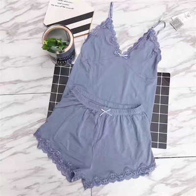 Daeyard Two Pieces Cotton Pajama Set Sexy Lace Top And Shorts Summer Pyjamas Sleepwear High Elastic Pijama Nightie Home Clothes