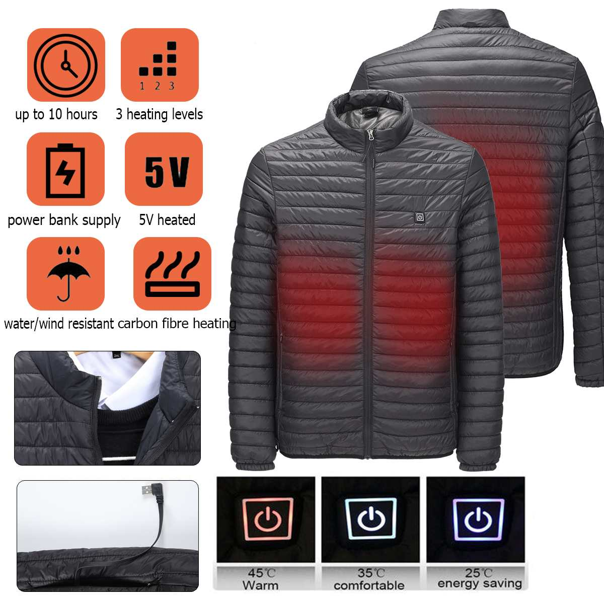 Men USB Fast Heated Jacket Winter Electric Waterproof Temperature Controllable Tactical Jacket For Hiking Camping Trekking Climb Hiking Jackets     - title=
