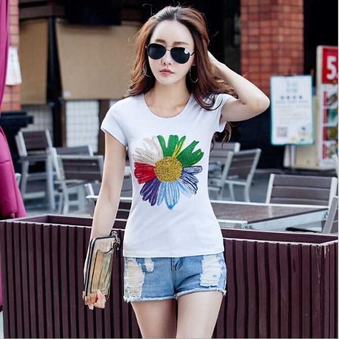 Sommer Blumendruck Kurzarm T-Shirts Baumwolle Frauen heiß Bohren - Damenbekleidung - Foto 6