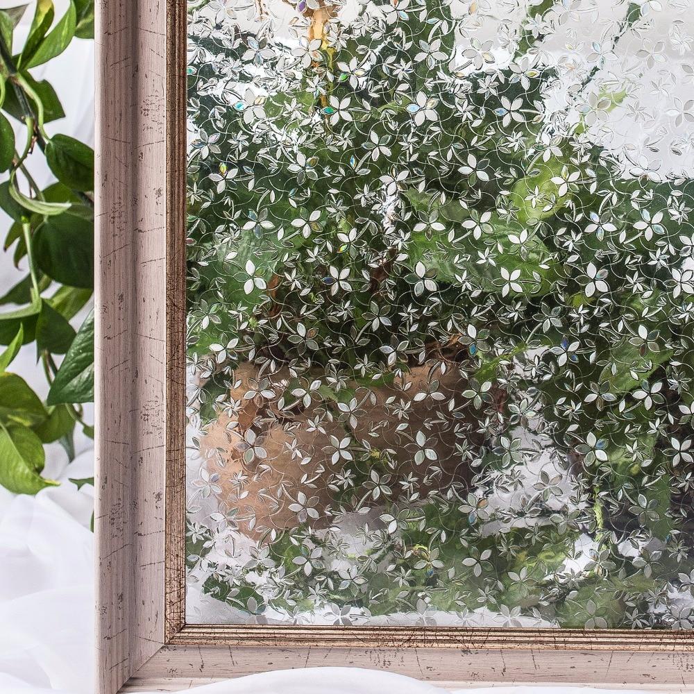 CottonColors PVC vízálló ablakfóliák, nem ragasztó 3D statikus virág dekoratív adatvédelmi hálószoba üveg matrica, 45 x 200 cm