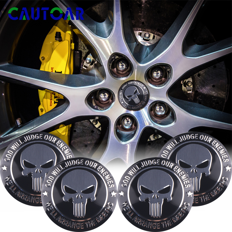 4Pcs/Pack 56mm THE Punisher Car Steering Tire Wheel Center 3D Sticker Hub Cap Skull Emblem Badge Decals Car Styling Accessory