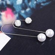 Moda elegante simulado pérola brincos de orelha de cristal ganchos mulher brincos assimétricos barato jóias por atacado