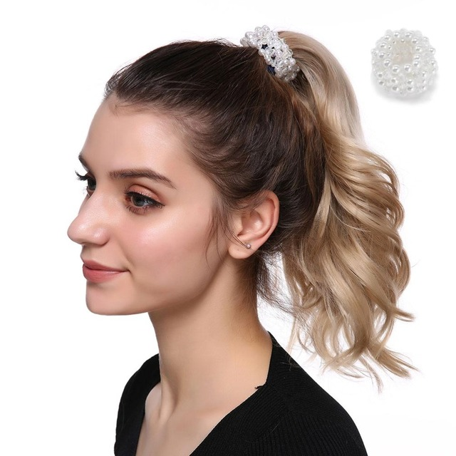 Fashion Faux Pearl Beads Hairbands Ponytail Holder Girls Scrunchies Elastic Hair Bands Rubber Rope Hair Accessories for Womens