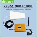 Conjunto completo Ganho 65dB móvel reforço de sinal de telefone GSM 900 Mhz + DCS1800Mhz dual band repetidor de sinal com Antena e cabo